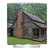 Cabin In The Woods - Fractals Shower Curtain
