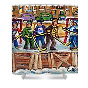 Calgary Flames Ottawa Sens Toronto Leafs Canadiens Oilers Boston Bruins Hockey Art Outdoor Rinks Shower Curtain