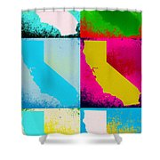 California Pop Art Panels Shower Curtain