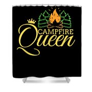 Campfire Queen Camping Caravan Camper Camp Tent Shower Curtain