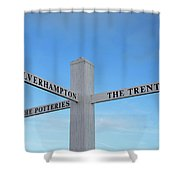 Canal Side Fingerboard Shower Curtain