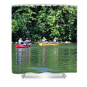 Canoeing On The Rideau Canal In Newboro Channel Ontario Canada Shower Curtain