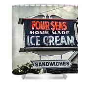 Cape Cod Four Seas Home Made Ice Cream Neon Sign Shower Curtain