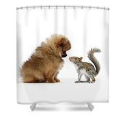 Careful I May Contain Nuts Shower Curtain