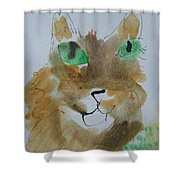 Cat Face Yellow Brown With Green Eyes Shower Curtain by AJ Brown