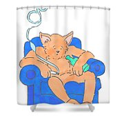 Cat Has Just Lost One Life Has Eight Lives Left Cartoon Shower Curtain