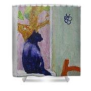 cat named Seamus Shower Curtain by AJ Brown