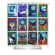 Cat Zodiac Paintings  Shower Curtain