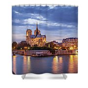 Cathedral Notre Dame And River Seine Shower Curtain by Brian Jannsen