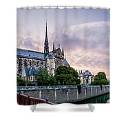 Cathedral Of Notre Dame From The Bridge - Paris France Shower Curtain