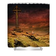 Celtic Cross Llanddwyn Island Shower Curtain