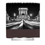 Chain Bridge At Night In Budapest Shower Curtain