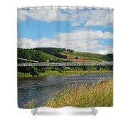 chainbridge over river Tweed at Melrose Shower Curtain