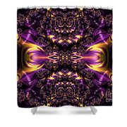 Chained Dragons Condemned  To Battle In Hells Fiery Furnace Fractal Abstract Shower Curtain by Rose Santuci-Sofranko
