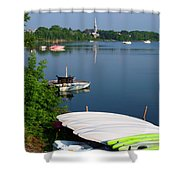 Chambly Basin And The Church Of St Joseph In Quebec Shower Curtain