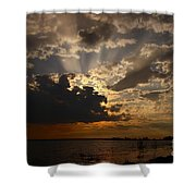 Cheboygan Lakeside Sunset Shower Curtain
