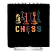 Chess Master Player Pawn Bishop Knight Queen King Graphic Shower Curtain