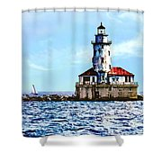 Chicago Il - Chicago Harbor Lighthouse Shower Curtain