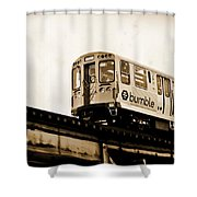 Chicago Metra Sepia Shower Curtain