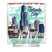 Chicago Poster - Vintage Travel Shower Curtain by Jim Zahniser