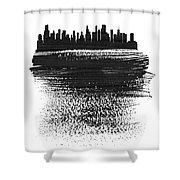 Chicago Skyline Brush Stroke Black Shower Curtain