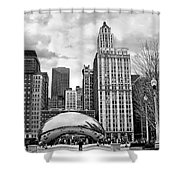 Chicago Skyline In Black And White Shower Curtain