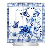 Chinoiserie Blue And White Pagoda With Stylized Flowers Butterflies And Chinese Chippendale Border Shower Curtain