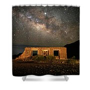 Chisos Mountain Homestead Under The Milky Way Shower Curtain