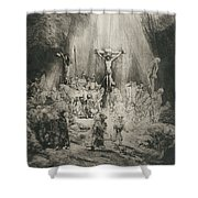 Christ Crucified Between The Two Thieves   The Three Crosses          Shower Curtain