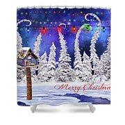 Christmas Card With Bird House Shower Curtain