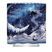 Christmas Card With Frozen Moon Shower Curtain