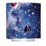 Christmas Card With Smiling Moon And Cats Shower Curtain