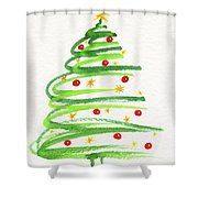 Christmas Tree With Decoration Shower Curtain
