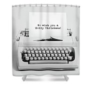 Christmas Wishes Written On An Old Typewriter. Shower Curtain