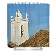 Church Bell Tower Behind Tiled Roofs In Tavira Shower Curtain