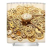 Circular Mechanics Shower Curtain