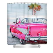 Classic Vintage Pink Chevy Bel Air  8x10 Scene Shower Curtain
