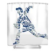 Clayton Kershaw Los Angeles Dodgers Pixel Art 30 Shower Curtain