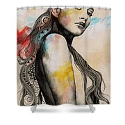 Cleansing Undertones - Zentangle Nude Girl Drawing Shower Curtain