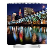 Cleveland Ohio Skyline Reflects Colorfully Shower Curtain