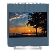 Cleveland Sign Sunrise Shower Curtain
