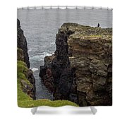 Cliff Vigil At Esha Ness On Shetland Mainland Shower Curtain