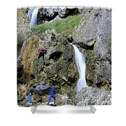Climbers Making Their Way Up The Cliffs Of Gordale Scar Shower Curtain