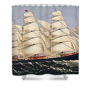 Clipper Ship Three Brothers, The Largest Sailing Ship In The World Published By Currier And Ives Shower Curtain