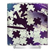 Clock Holes And Puzzle Pieces Shower Curtain