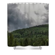 Cloud Topped Aspens Shower Curtain