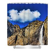 Clouds Abover Upper Yosemite Fall Shower Curtain