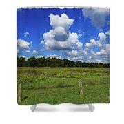 Clouds Surround The Landscape Shower Curtain