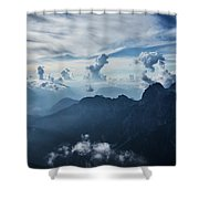 Moody Cloudy Mountains With A Lot Of Contrast And Shadows And Clouds Shower Curtain