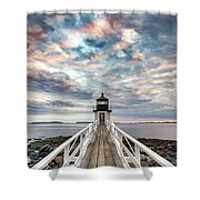 Cloudy Skies At Marshall Point Shower Curtain
